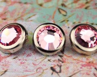 10 Light Rose Crystal Hair Snaps - Round Silver Rim Edition -- Made with Swarovski Crystal Element Rhinestones