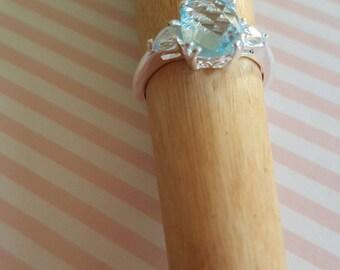 Blue Topaz Platinum Ring