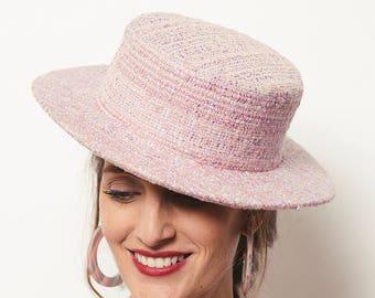 Pink Tweed Canotier