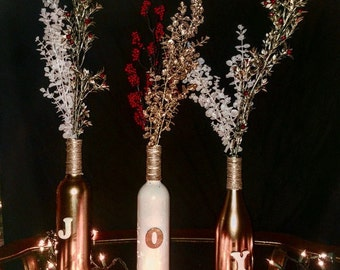 Christmas Wine Bottle Centerpiece