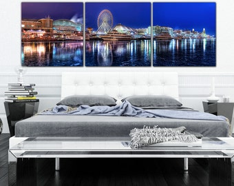 Chicago's Navy Pier Canvas Art, Chicago Panoramic Large Wall art, Poster, Chicago Canvas, Chicago skyline, Chicago art, chicago painting