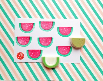watermelon rubber stamp | fruit stamp | summer birthday card making | diy gift wrapping | hand carved by talktothesun | set of 2