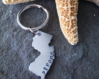 Jersey strong new jersey keychain hurricane sandy  hand stamped