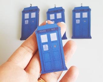 Doctor Who Tardis Sci-Fi Time Machine Comic Con Fan Jewellery Laser Cut Wooden Brooch Pin Badge Jewellery Gift