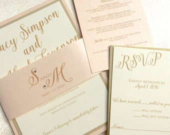 Gold Wedding Invitation - Wedding Invitation Suite - Blush and Gold Wedding Invitations