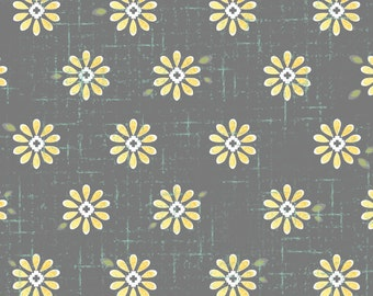 You & Me Sweet Daisy Dark Gray from Adorn It - Full or Half Yard Yellow daisies on Dark Gray Distressed Background