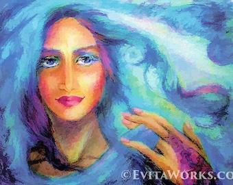 Indian woman painting, Bollywood dancer, Indian dance, feminine decor, beauty painting print 8x11+