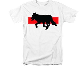 Running Wolf T-shirt, Native American, Woodland Totem Animal, Southwestern Wolf, Wearable Art, Red Black, Uni-Sex Fashion, Wolves Clothing