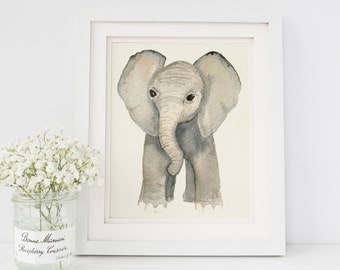 Watercolor Elephant Painting | Baby Elephant Nursery Decor | Watercolor Elephant Print | Safari Animal Nursery | Safari Print Set