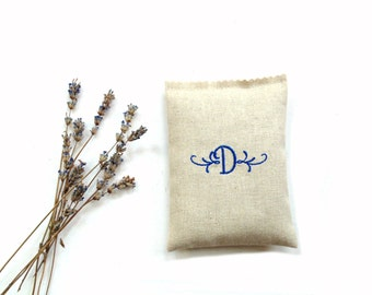 Lavender sachet drawer freshener, personalized sachet, embroidered monogram letter initial, bridesmaids gifts, Mom birthday gift