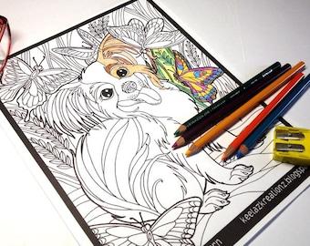 Dog Art/Dog Drawing/Papillon Drawing/Papillon Puppy/Coloring Page/Pet Portrait/Fur Babies/Digital Download/Black & White Drawing