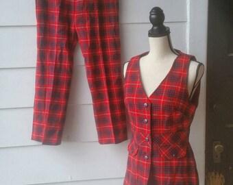 1960s Plaid Vest and Pant Set || Medium
