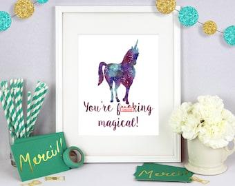 Unicorn Art, Gift for Her, Christmas Gift, Poster Art, Wall Art, Poster Wall Art, Typography Print, Typography Art, Birthday Present
