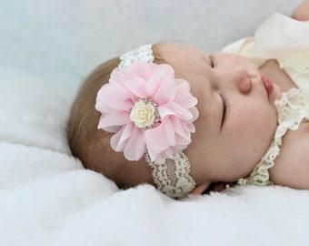 Pink Ivory Headband, Pink Baby Headband, Ivory Lace Headband, Pink Flower Headband, Newborn Headband, Newborn Photo Prop, Baby Shower Gift