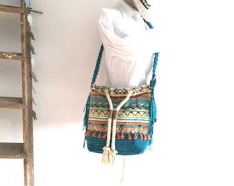 Cross body bag, turquoise, vegan, corduroy, aztec, fringe, beads, shell, orange, tassels, cotton cord, shoulder bag, gobelin.