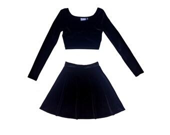 Two Piece Set Long Sleeve Velvet Dress, Matching Set, Velvet Set, Black Velvet, Twin Set