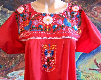 Mexican Dress, Embroidered, Red, Flowers, Cinco de Mayo, L / XL
