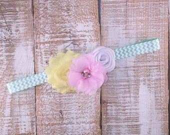 Baby Girl Headband, Light Pink White & Yellow Headband, Sea Foam Chevron, Pastel Headband, Toddler Headband, Photo Prop