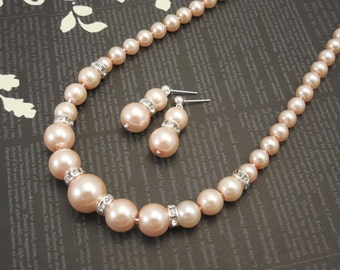 Very Fancy and Elegant, Wedding Bridal Set , One Strand Embossing Look Blush Pink Glass Pearl Necklace and Shiny Glass Pearl Earrings