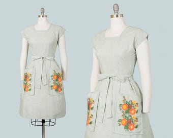 Vintage 1950s Dress | 50s SWIRL Wrap Dress Floral Embroidered Cotton Green Striped Full Skirt Day Dress w/ Pockets (xs/small/medium)