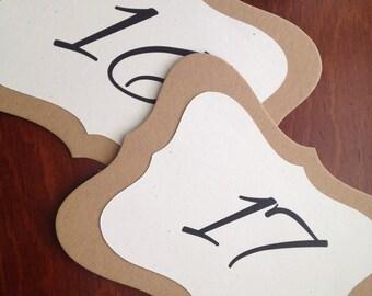 Bracket shaped table Number - Vintage table number - recycled table number - rustic table number - wedding table number - Kraft table number