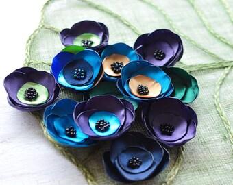 Satin fabric flowers, silk flower appliques, small satin roses, wedding flowers, bulk flowers, flower embellishment (12pcs)- GRAB BAG 397
