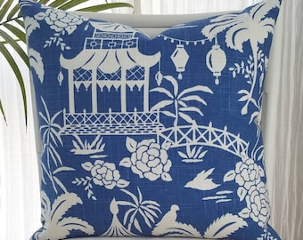 Pagoda Temple Palm Chinoiserie Asian Oriental Blue White Pillow Cover
