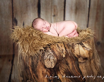 SALE - Camel Faux Fur Photography Prop - Soft, Cozy, Cuddly Faux Fur Nest - Perfect Newborn Photography - Plush Long Pile, Stuffer, Layering