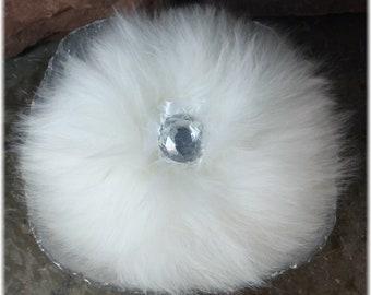 Powder Dish Set, Vanity Powder Set, Handmade Powder & Puff in Glass Bowl