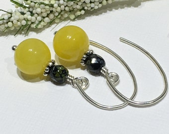Earrings-Bright Sunshine Canary Yellow Czech Glass Beaded Earrings-Short Drop Dangle-Just Over One Inch-Yellow Black and Green On Sterling