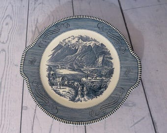 Currier and Ives Rocky Mountain Cake Plate, Royal China, 1960's Kitchen, Vintage Blue and White China