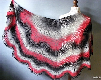 Knit wool shawl, women's lace shawl, red black grey triangle shawl, winter wrap, hand knitted shawl, gift for Her, ready for shipping