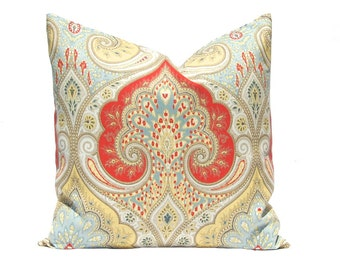 Throw Pillow Cover, Latika Pillow Cover, Decorative Pillow Cover, Cushion Cover, Latika Red Blue Yellow, Pillows Same Fabric Front and Back