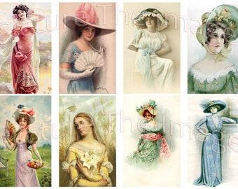 Instant Download Victorian Ladies Wearing Hats (LH5)