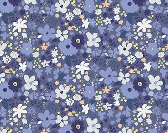 "Blue Floral Fabric from Chic Flora from Art Gallery ""Vintage Rush Bleu"", Vintage Inspired Blue Flowers. 100% premium cotton. CF-30034"