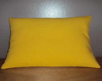 Solid Yellow Cotton Decorative Lumbar Pillow Cover - 3 Sizes Available