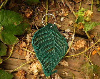 NEW Key Ring Leather Leaf / Keychain Key Chain Keyring Fob Purse Zipper Pull Leaves Silver Ring Elf Fairy Pixie Faerie Pan Woodland Gift