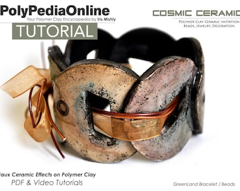 Polymer Clay Tutorial, Polymer Clay Jewelry, Polymer Clay Beads, Bracelet Tutorial, Cuff Tutorial, PDF Tutorial, Polymer Ceramic, Video,Fimo