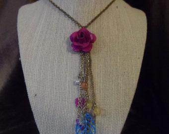 Fuschia Floral Charm Necklace