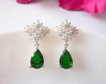 Art Deco Earrings Drop Emerald Earrings Great Gatsby Earrings Art Nouveau Earrings Bridal Earrings Wedding Earrings Vintage Earrings Downton