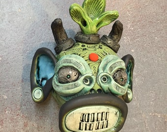 Ceramic Japanese Oni mask, wall hanging