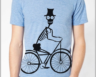 Men's Bicycle Skeleton Biker Cycling T Shirt  American Apparel Tee XS, S, M, L, XL