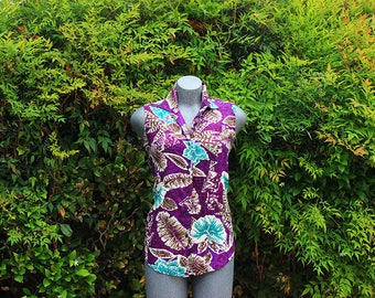 Vintage Button Up Tank, Floral Print, Leaf Print, Purple & Teal, Basic Edtitions, Sleeveless, Summer Shirt, Blouse, Size Small