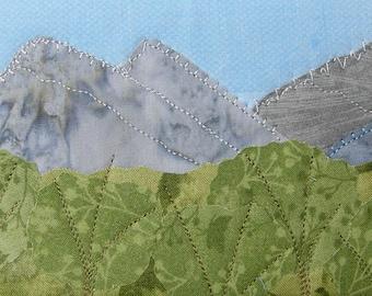 Quilt Art - Fabric Postcard - Landscape Postcard - Blue Ridge Mountain - Rocky Mountains - Fiber Art - Gift for Him - Boss Gift