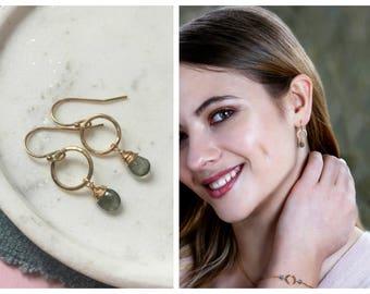 March birthstone earrings, aquamarine earrings, March birthday gift, gemstone dangle earrings, March birthstone drop earrings - Clare