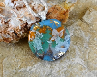 Blue and Green Fused Glass Pendant, Oval Fused Glass Flower Necklace, Stone Look Glass Pendant, Glass Flower Pendant - Dragonfly Pendant