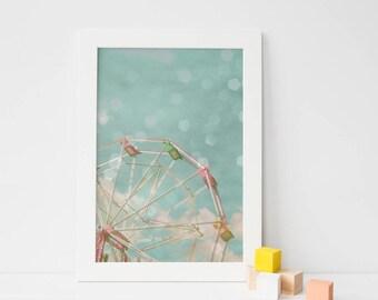 Carousel Nursery Art, Retro Wall Art, Girls Bedroom Art - Candy Wheel