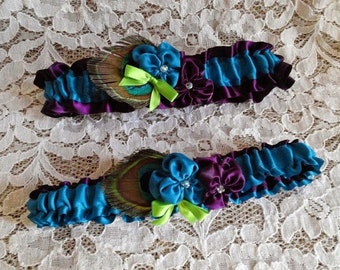 Deep Plum Turquoise and Lime Peacock Wedding Garter Set - Violets in Deep Plum and Turquoise with Peacock Feathers, Bridal Garter Set