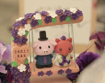 fox  and pig Wedding Cake Topper