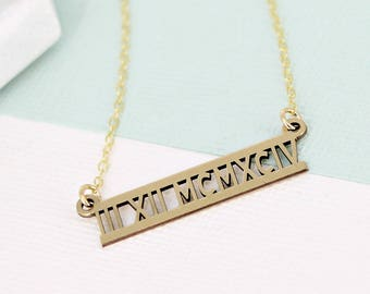 Personalized roman numeral necklace • Layering necklace • Sterling Silver or Gold-filled option • Date bar necklace • Roman numerals